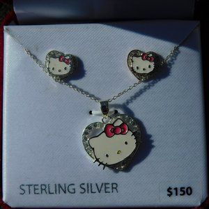 HELLO KITTY STERLING SILVER EARRINGS AND NECKLACE